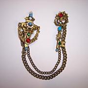 SALE Coro Door Knocker & Key Chatelaine Double Brooch