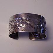 SALE Sterling Silver Wide Floral Cuff Bracelet Repousse & Engraved
