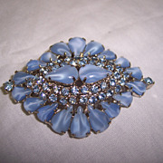 SALE Gorgeous Blue Givre Glass & Rhinestone Brooch