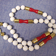 SALE Great Napier Red & White Lucite & Gold Beads Necklace