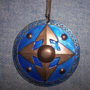 SALE Wonderful Large Sterling & Blue Enamel Pendant Necklace