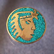 Aztec Metales Mosaica Mexican Brooch Pendant