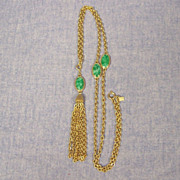 Faux Jade Tassel Necklace Goldtone Emmons