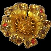 Vintage Benedikt N.Y. Large Flower Brooch Gold tone
