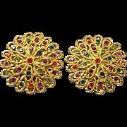 Bold Vintage Tara Rhinestone Earrings Gold tone Pr