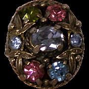 SALE Hollycraft Pastel Rhinestones Ring
