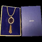 SALE Vintage Avon Purple Tassel Pendant Necklace in Box