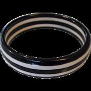 SALE Black & White Plastic Bangle Bracelet