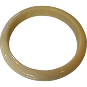 Vanilla & Cream Marble Swirl Bangle Bracelet