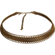Beautiful Lacey Gold tone Choker Collar Necklace Avon