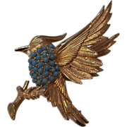 REDUCED Beautiful Boucher Bird Brooch Beaded Turquoise Gold tone