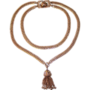 Bergere Victorian Revival Gold tone Tassel Necklace