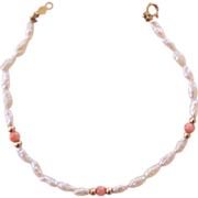 SALE Delicate Freshwater Pearl and Coral Bracelet 14K Clasp