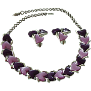 Purple Thermoset Lucite Heart Necklace & Earrings