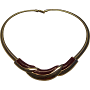 unsigned Napier Burgundy Enamel & Gold Tone Necklace