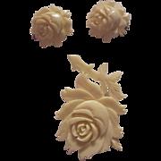 Vintage Hand Carved Bone Rose Brooch & Earrings Set