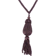 Vintage Silver tone Acorn or Pear with Fringe Pendant Necklace
