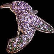 Monet Pave Rhinestones Hummingbird Brooch Silver tone