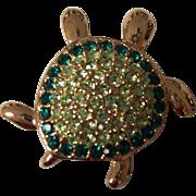 Monet Turtle Brooch Green Rhinestones in Gold tone
