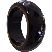 Wide & Chunky Black Lucite Faceted Bangle Bracelet