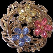 Trifari Fragonard Pastel Rhinestones Flowers Brooch