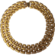 SALE Napier Textured & Smooth Wide Necklace Gold tone