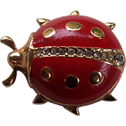 SALE Christian Dior Germany Ladybug Enamel & Rhinestone Pin