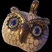 Enamel & Rhinestone Gold tone Owl for Pendant