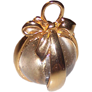 Gold tone & Glass Egg Ornament Pendant