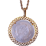 Crown Trifari Pisces Intaglio Pendant Necklace
