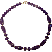Purple Lucite Plastic Beaded Necklace