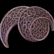 Vintage Trifari Open work Silver tone Swirl Brooch
