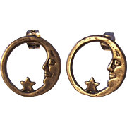 Delicate Sterling Man in the Moon and Star Earrings
