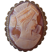 Vintage 800 Silver Carved Shell Cameo w Gold Gilt Brooch Pendant