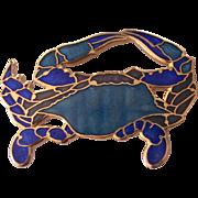 Fish & Crown Enamel Cloisonne Crab Brooch
