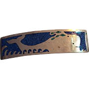 Large Mexican Inlaid Lapis Whale Hair Clip Barrette Alpaca