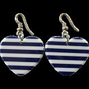 Fun Blue & White Striped Plastic Heart Earrings