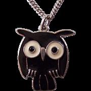 Black & White Enamel Owl Pendant Silver tone