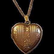 14K Gold Heart Engraved Locket Pendant Inscribed