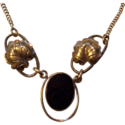 Walter Lampl Gold Filled Onyx and Leaf Necklace