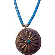 Sterling Silver & Turquoise Concho Southwestern Native American Style Necklace