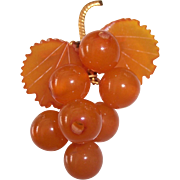 Russian Amber Dangling Grapes Brooch