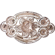 Old Mexican Filigree 900 Silver Large Brooch