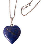Beautiful Lapis Heart Pendant Necklace