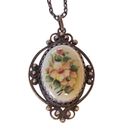 Russian Finift Floral Enamel Pendant Necklace Silver tone Filigree