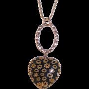 Italian Millefiore Glass Heart Sterling Silver Pendant Necklace