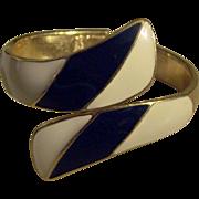 Trifari Dark Blue and Cream Enamel Clamper Bracelet Gold tone