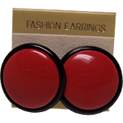 Round Lipstick Red and Black Lucite Earrings