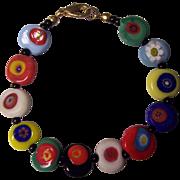 Millefiore Glass Bead Bracelet