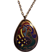 Enamel on Brass tone Book of Kells Pendant on Chain